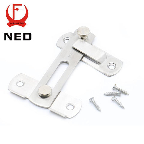 $7.44- Ned 304 Stainless Steel Hasp Latch Lock Sliding Door Simple Convenience Window Cabinet Locks For Home Hotel Door Security