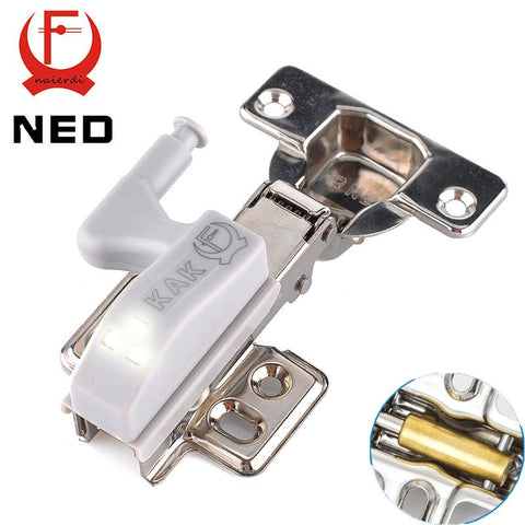 $6.42- Ned Stainless Steel Hydraulic Hinge W/ Copper Damper Buffer Cabinet Cupboard Kitchen Door Hinges W/ 0.25W Led Sensor Light