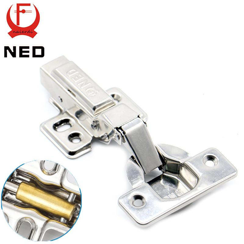 $31.61- 4Pcs Ned Super Strong 40Mm Cup Hinges Stainless Steel Hydraulic Copper Core Hinge For Cupboard Cabinet Door Furniture Hardware