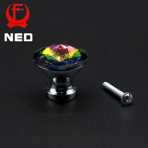 $2.05- Ned 30Mm Diamond Shape Design Colorful Crystal Glass Knobs Cupboard Drawer Pull Door Kitchen Cabinet Wardrobe Handles Hardware