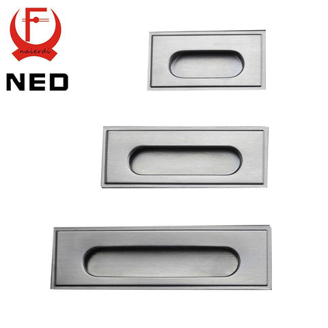 $1.88- Ned 96Mm Cabinet Hidden Handles Stainless Steel Invisible Handle Circle Drawer Wardrobe Knobs W/ Screws For Furniture Hardware
