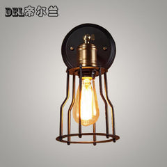 15cm*23cm retro wall lamp black cage industrial Vintage loft style black Edison iron foyer basement wall light
