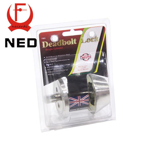 $19.85- Ned Single Cylinder Deadbolt Lock Solid Brass Ss Handle Lock Grade3 Highest Security For Home Door Suitable For 35Mm To 50Mm