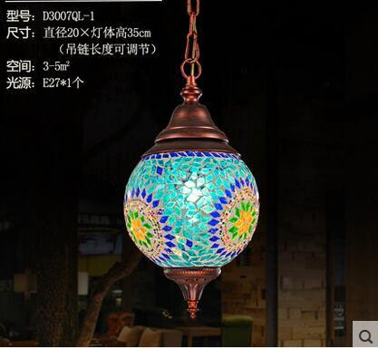 $208.93- Bohemian Exotic Turkey India Style Blue/Green Handmade Glass Led E27 Pendant Light For Restaurant Bar Balcony 2172