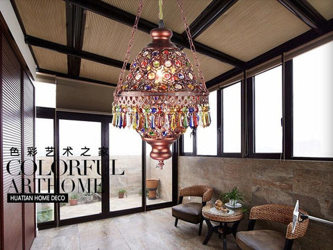 $126.16- Colorful Crystal Pendant Lamps Lighting Fixtures 1L Bohemian Style Iron Ceiling Pendant LampsAc110240V