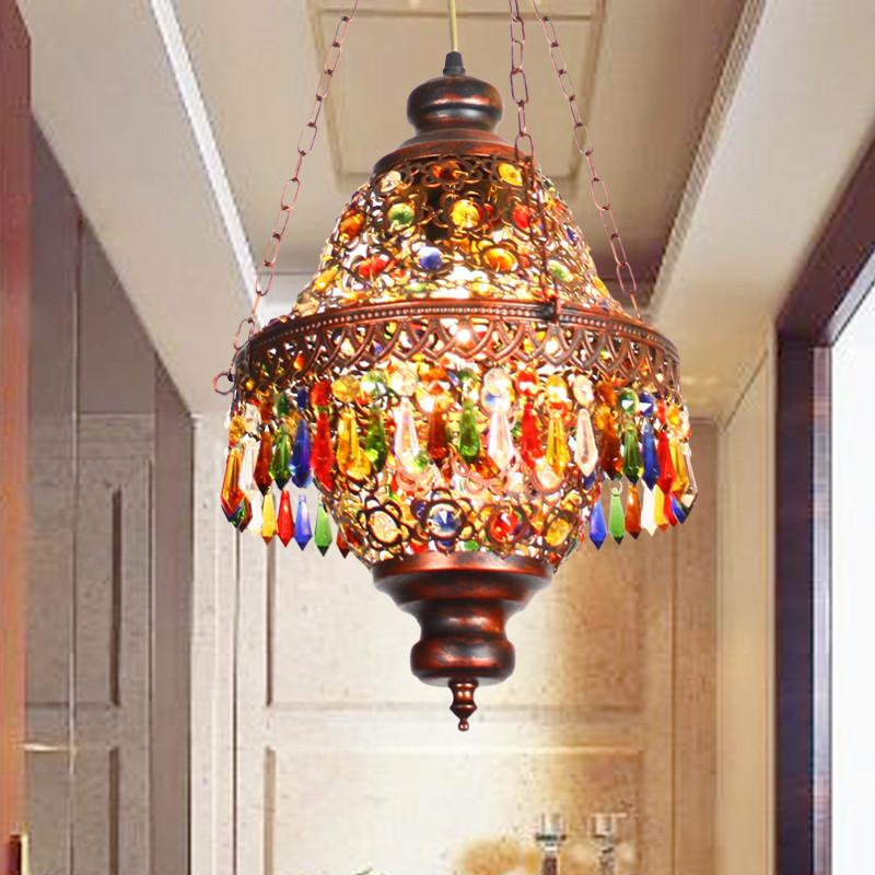 $424.76- Diffuse Small Pendant Light Southeast Asia ThaiStyle Coffee Colored Bohemian Crystal Pendant Lamp Restaurant Lights