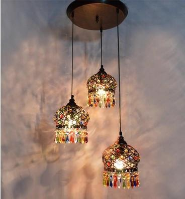$236.30- Bohemian Chandelier Ccolorful Crystal Droplight 3 Ligfts Red Bronze K9 Ceiling Lamp For Bar Store Hall Club Coffee Shop Decor