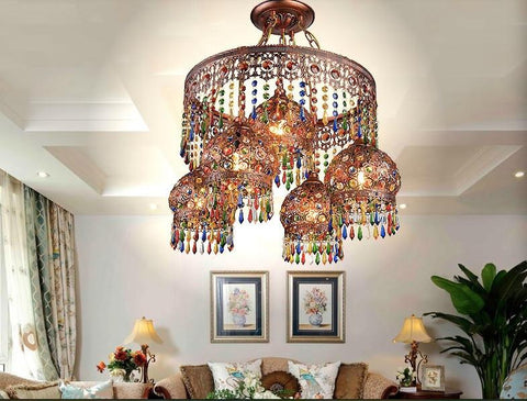$667.27- Crystal Pendant Lamps Lighting Fixtures 41L Bohemian Style Semicircel Iron Ceiling Pendant LampsAc110240V