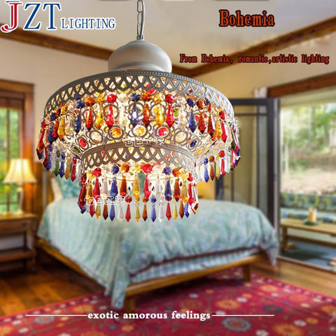 Bohemian Style Glass Shade Pendant Lightshell Aisle Dining Room Pendant Lamp Restaurant Creative Single-Head Study Zzp