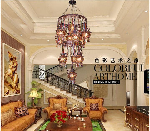 $1287.57- Ly Bohemian Miderranean Style Colorful Iron Crystal Pendant Light Creative Dining Room Pastoral Pendant Lamp