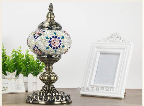$105.20- Turkey Bohemian Retro Romantic Handmade Colored Glass Mosaic Elbow Swan Version Table Lamps