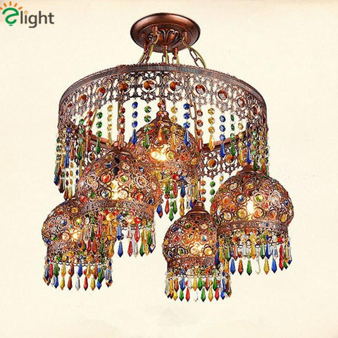 Arrival Bohemian Mediterranean D220Mm H400Mm Hand Knitted Crystal Pendant Light Tiffany Vintage Painted Iron Pendant Light