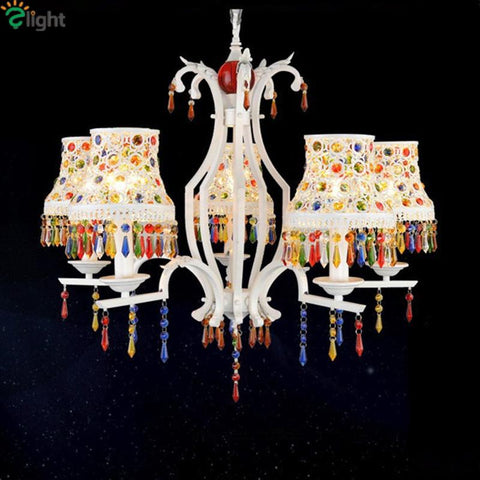 Europe Vintage Painted Iron Bohemian Pendant Chandelier Tiffany Beauty Colorful Lustre Crystal Chandelier