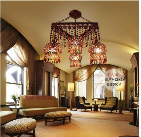 $599.29- D50Cm Antique Red Crystal Pendant Lamps Lighting Bohemian Iron Bar Pendant Light Colorful Crystal Pendant Light
