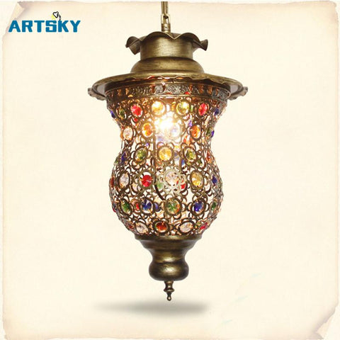 Shipping 3 Heads Hot Colorful Pendant Different Design Bohemian Style Pendant Lamps For Restaurant Lamp Cafe Lights