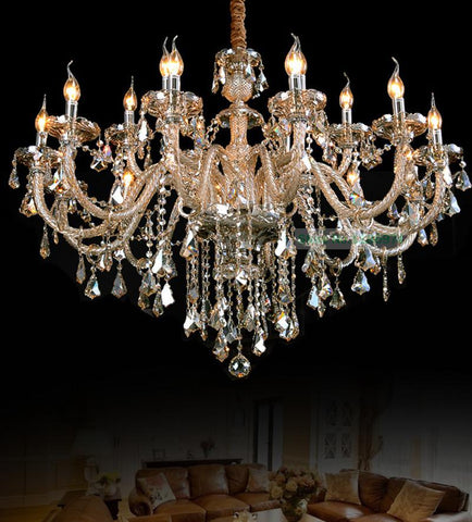$439.52- Bohemian Crystal Chandeleir Led Lamps 18 Lights Low Price Chandeliers Stylish Crystal Candle Holder