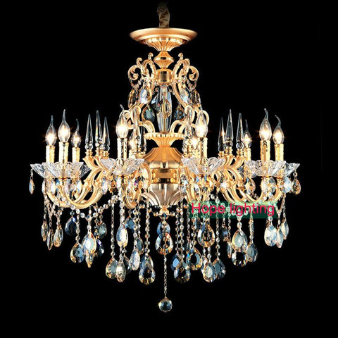 Shipping 12/15 Luces Antique Bohemian Cognac Crystal Chandeleir Light Living Room Vintage Lamp Chandelier Crystal Lustre