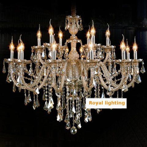 Modern Crystal Chandeliers Country Style Chandeliers Bohemian Top Glass Chandelier Lamp 18 Lights Candle Chandelier Lights Foyer