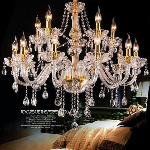 $682.24- Customized Bohemian Style Crystal Chandeliers 12/15/18 Lights Gold Base Glass Arm Gold Candle Holder Clear Crystal Chandelier