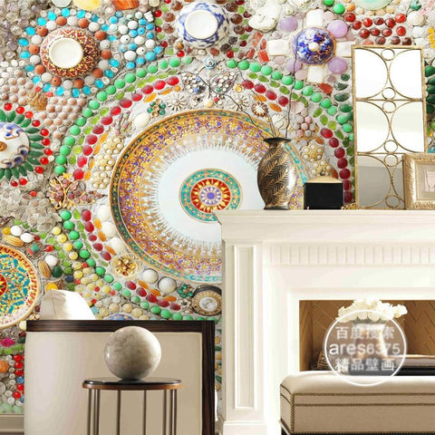 $43.70- Bohemian Wallpaper 3D Wall Mural Bedroom Jade Mosaic Wallpaper Hotel Room Decor Ceiling Wall Covering Modern Home Decoration