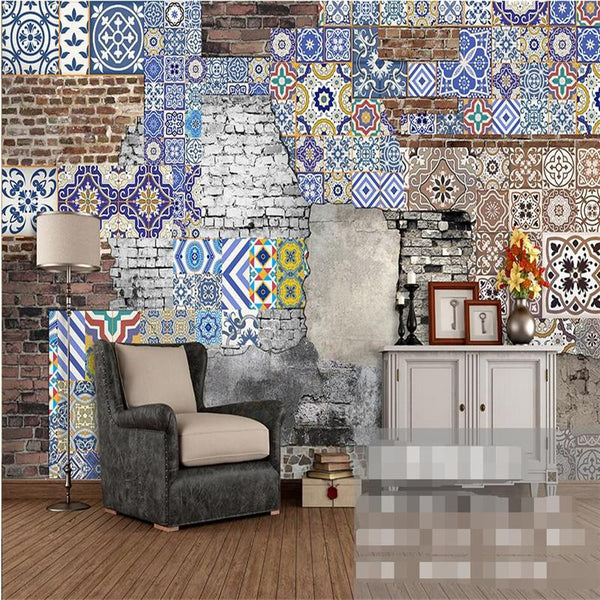 $27.22- Modern Wallpaper3D Background Large Painting Bohemian Pattern Brick Murales De Pared Hotel Badroom Wall Mural For Living Room
