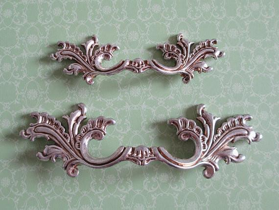 $100.30- Shabby Chic Dresser Pull Drawer Pulls Door Handles Antique Silver French Country Vintage Furniture Cabinet Knobs Pull Handle