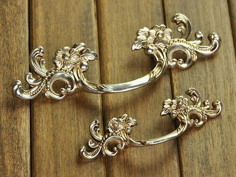 "3.75"" 5 "" Chic Dresser Drawer Pulls Door Handles Bronze French Country Vintage Furniture Cabinet Pull Handle 96Mm 128Mm"