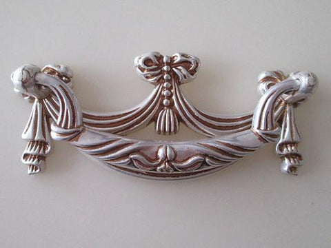 "3"" 76 Mm Shabby Chic Dresser Drawer Pulls Handles White Gold / French Country Kitchen Cabinet Handle Pull Antique Furniture"