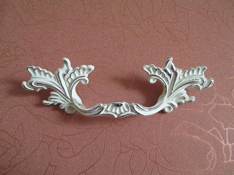 "3"" Shabby Chic Dresser Drawer Pulls Handles Off White Silver / French Country Kitchen Cabinet Handle Pull Antique Furniture"