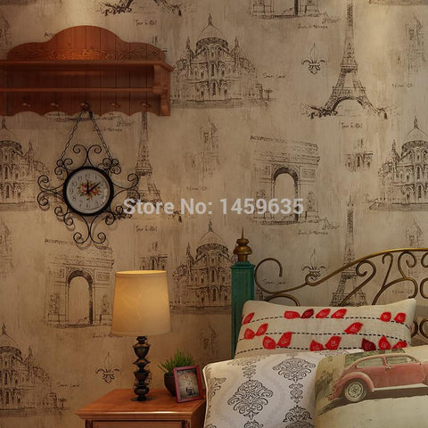 American country retro nostalgia French Eiffel Tower wallpaper bedroom living room wall paper background Coffee Bar
