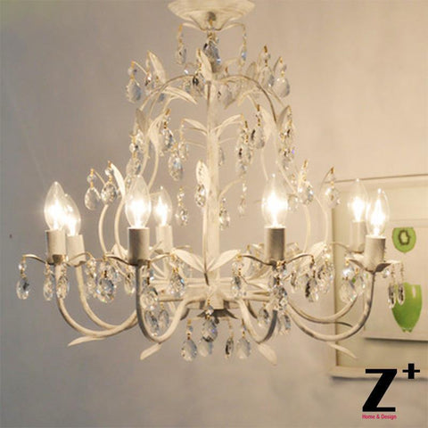 French Country Style Vintage K9 Crystal Rococo Palais Chandelier Tree branch lights wrought rion