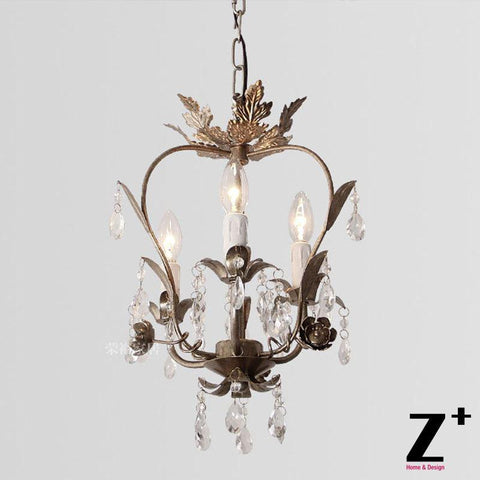 $442.78- K9 Crystal Palais Iron Leaf Pendant Light Iron Body French Vintage Country Style Restaurant Dinning Room