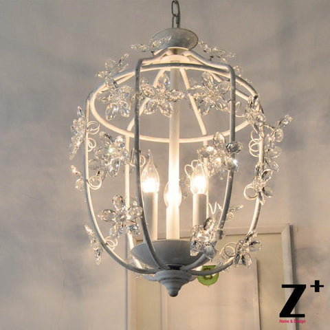 $623.18- French Country Style Vintage K9 Flower Crystal Rococo Palais Pendant Light Lamp Wrought Iron Cage Wedding Wrought Rion
