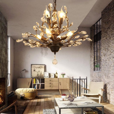 American Country Wrought Iron Crystal Retro French Villa Bedroom Living Room Porch Branches Pendent Lamp