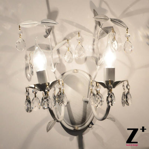 French Country Style Vintage K9 Crystal Rococo Palais Wall lamp Tree branch two lights sconce wrought rion Free Shipping