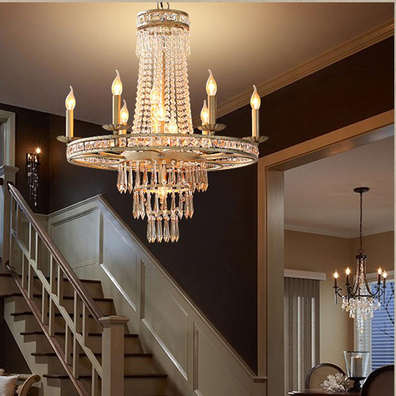 $1411.20- American Vintage Rustic French Style Crystal Chandelier Light Home Lighting Chandeliers Rustic Country Style Creative Pastoral