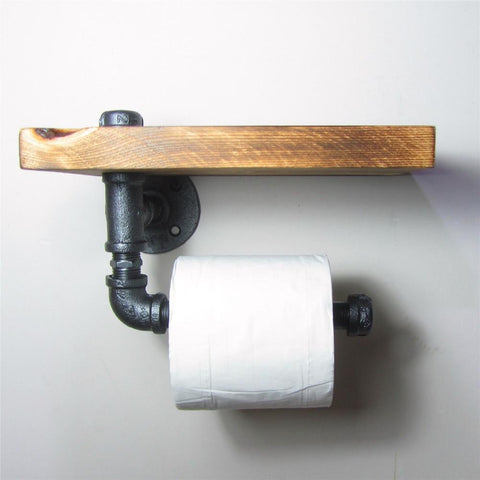 $48.58- Urban Industrial Style Wall Mount Iron Pipe Toilet Paper Holder Roller W/ Wood Shelf Restaurant Restroom Bathroom Decoration