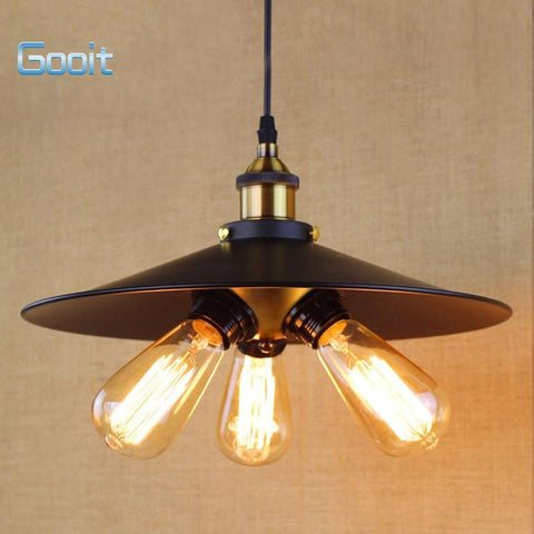 $86.04- Vintage Style Retro Rural Edison Loft Industrial Restaurant Wall Lamp Pendant Lamp Black Skirt 3Bulbs Droplight