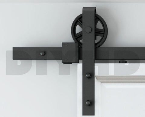 $229.50- 5Ft/6Ft/8Ft/10Ft Vintage Style Strap Industrial Wheel Sliding Barn Wood Door Hardware Track Kit