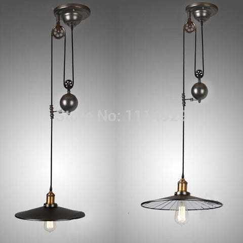 $204.66- Nordic Loft Retro Industrial Pendant Lights Restaurant/Bar Lighting Rustic Style Pulley Lamps Vintage Edison Pendant Lamp E27