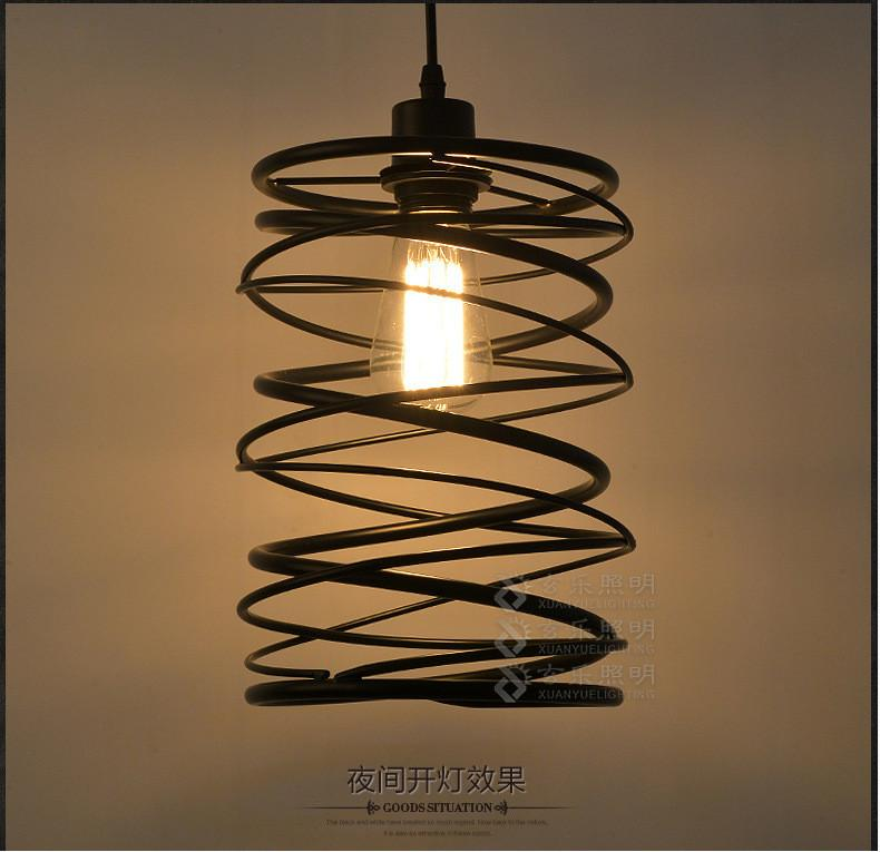 $98.58- Americian Country Loft Style Iron Pendant Lamp Industrial Retro Dining Light Spin Shade Bedroom Living Room Light