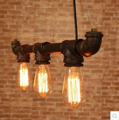 $220.12- 65Cm Retro Loft Style Vintage Industrial Lighting Pendant Lights W/ 6 Edison Bulb Light Fixtures Water Pipe Lamp