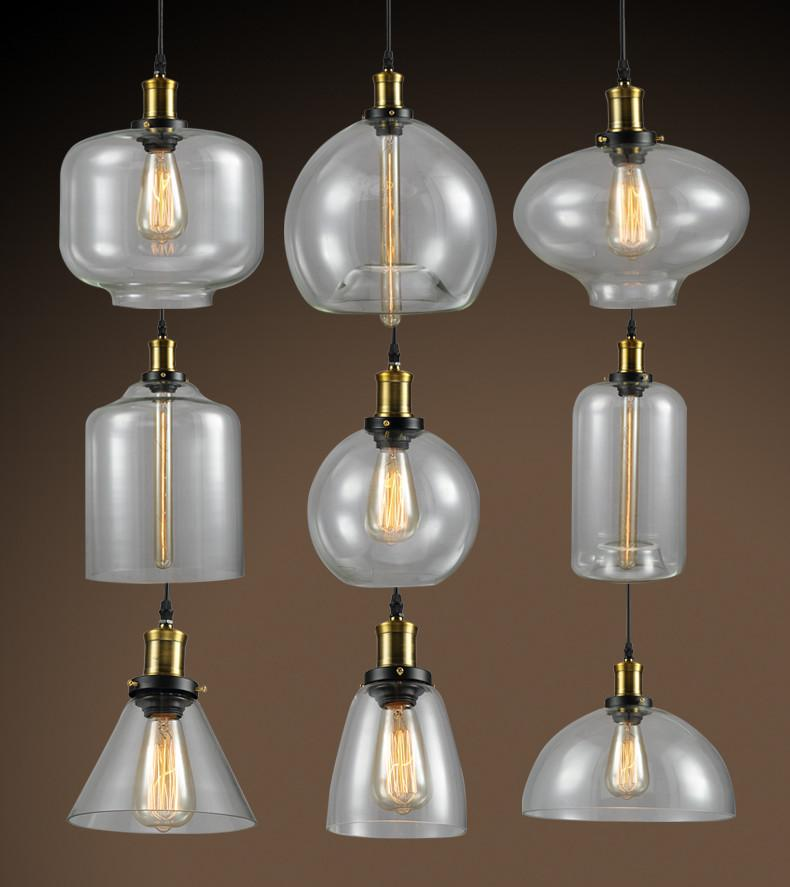$86.00  Galss Lampshade Retro Loft Style Industrial Pendant Lighting  Fixtures Vintage Lamp Edison Bulb Light