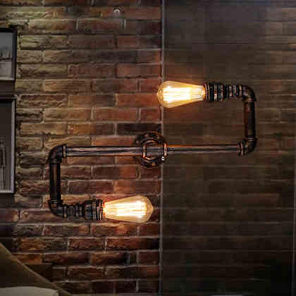 $80.87- Retro Loft Industrial Faucet Antique Edison Wall Lamp Light Water Pipe Metal Rustic Loft Wall Light Sconce
