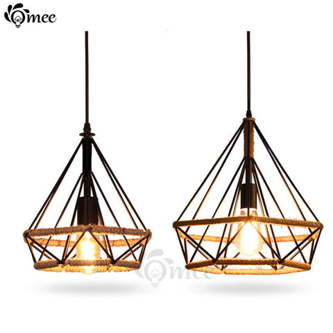 $65.70- Modern Birdcage Pendant Lights Rope Diamond Iron Minimalist Retro Light Scandinavian Loft Pyramid Lamp Metal Cage W/ Led Bulb