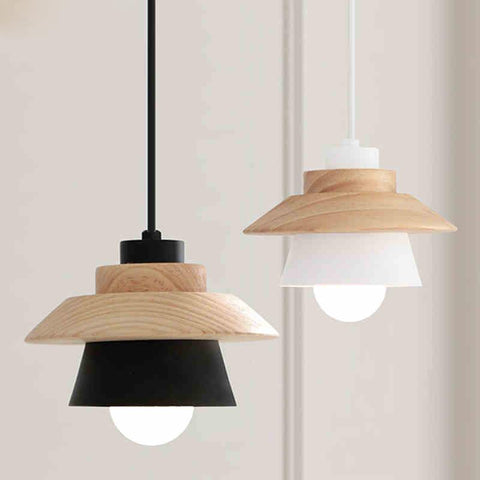 $87.30- Nordic Contracted Decor Pendant Lights Suspension Luminaire E27 AluminumWood Pendant Lamp Modern Light Fixtures Black White