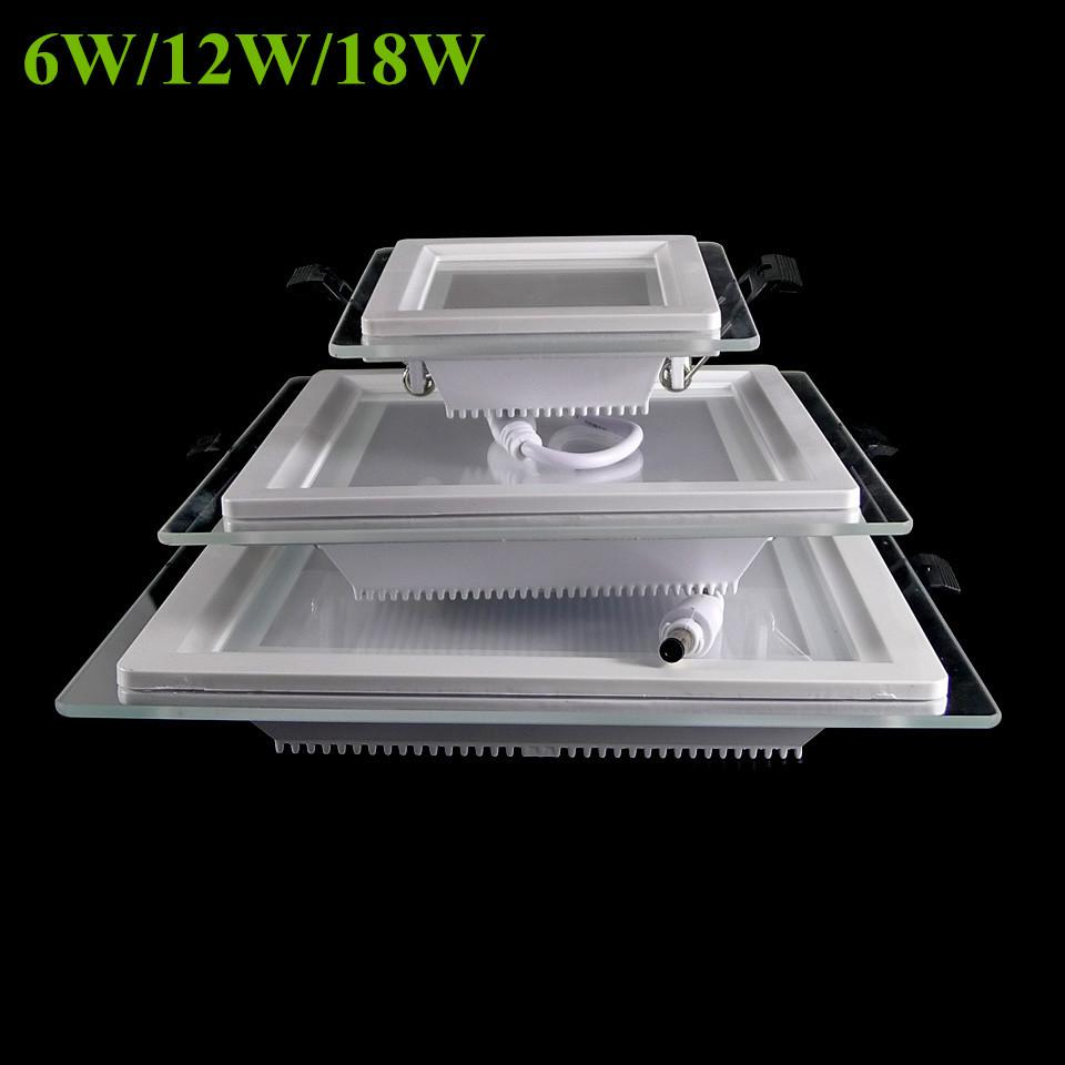 $17.08- 6W 12W 18W Dimmable Led Panel Light Square Glass Led Downlights Ceiling Recessed Lights Episar Smd5730 Chip Lamps Ac85265V