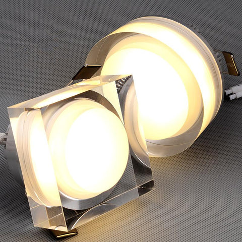 $10.78- Led Crystal Downlight Square/Round 1W 3W 5W 7W Led Ceiling Spot Light Led Recessed Lamp For Home Decoration Kitchen Lighting