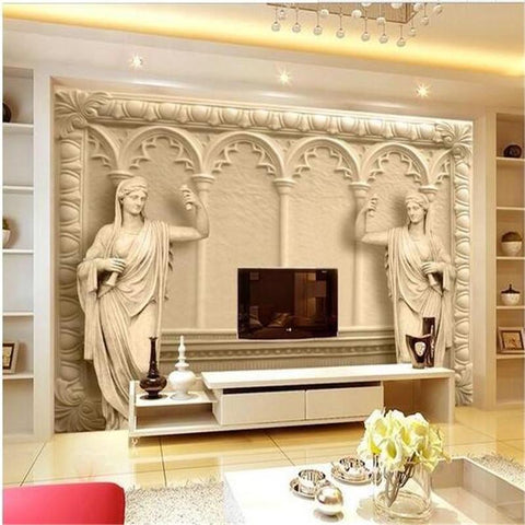 $19.40- Custom Photo Wallpaper 3D Continental Mural Reliefs Backdrop Simple Fashion Large Mural 3D Wall Murals Wallpaper Painting