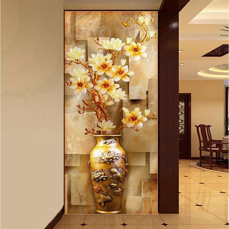$27.59- 3D Room Wallpaper Landscape Flash Silver Cloth / Entrance Stereoscopic 3D Elegant Magnolia Vase Large Mural Wallpaper